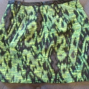 Astr Skirts - Astr Neon Green/Black Faux Leather Trim Mini Skirt
